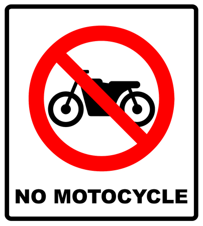 general warning: No motorcycle sign isolated on white background.vector illustration. warning banner for park area and outdoors. general red prohibition circle Illustration