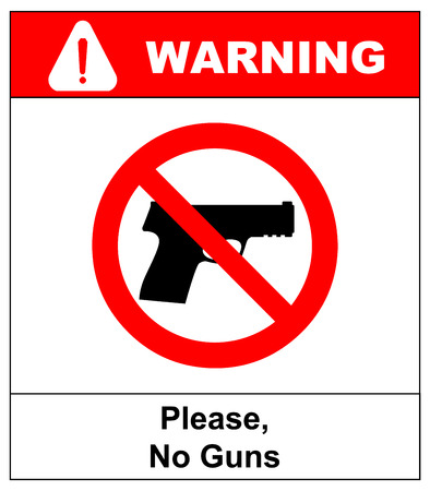 general warning: Prohibiting sign for weapons. No gun sign. Vector illustration, warning banner for public places, isloated on white, general red prohibition circle.