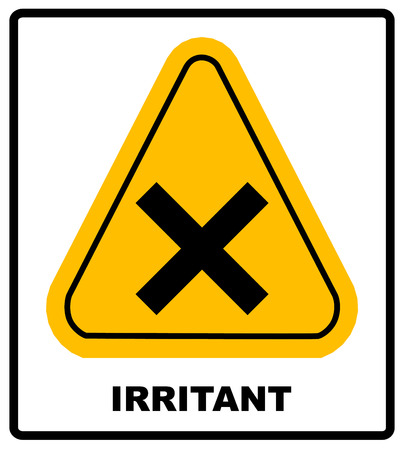irritant: vector irritant sign in yellow triangle banner with text irritant