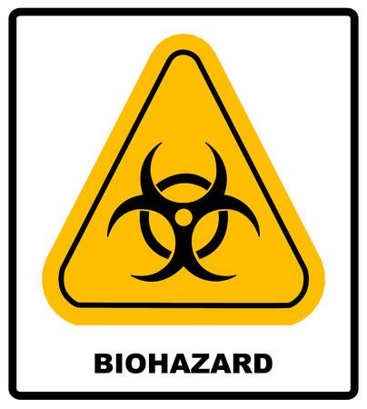 Biohazard symbol sign of biological threat alert, vector biohazard sign in yellow triangle banner with text biohazard