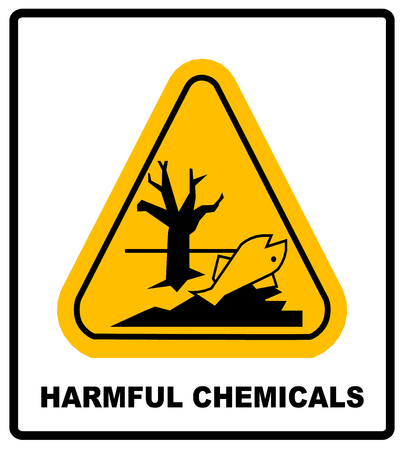 dead fish: GHS hazard pictogram in yellow triangle - harmful chemicals keep out hazardous to aquatic environment , hazard warning danger banner , isolated vector illustration