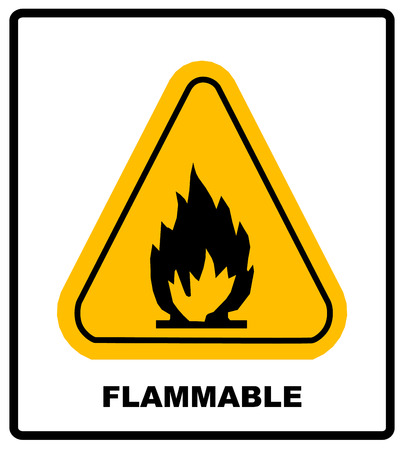 burnable: Fire warning sign in yellow triangle. High Flammable Materials, inflammable substances icon. Vector banner isolated on white.