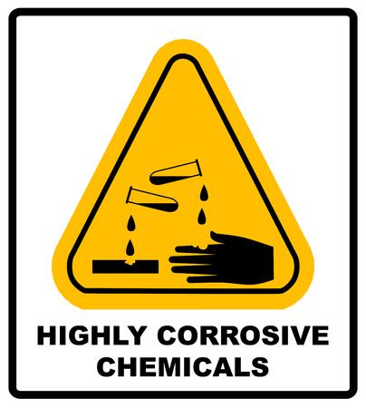 Altamente químicos corrosivos firman en triángulo amarillo aislado en blanco peligro de banner con el texto