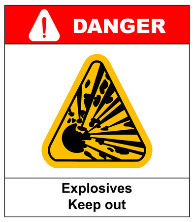 symbol of the explosion in the yellow triangle danger informational banner with text explosives keep out Illustration