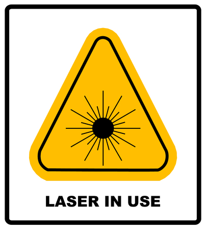 laser hazard sign: Danger laser radiation Class I symbol in yellow triangle isolated on white with text and sign banner.
