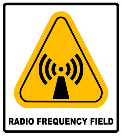 Danger banner radio frequency field in yellow triangle keep out official international hazard warning signs label for public places vector illustration