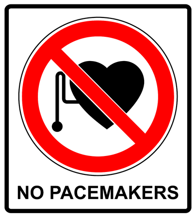 pacemaker: No access with cardiac pacemaker sign in red circle prohibition symbol danger banner