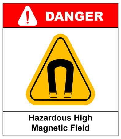 magnetic field: strong magnetic field vector warning sign sticker label danger for public places yellow triangle