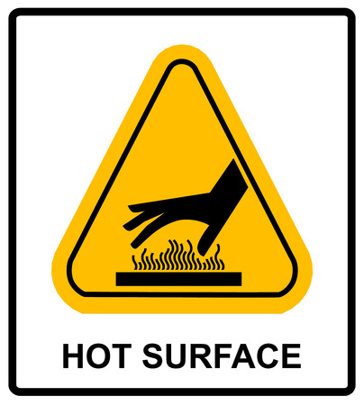 Raak niet aan het warme oppervlak gevaar tekens illustratie vector informatief sticker label vector voor openbare plaatsen
