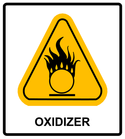 oxidant: Oxidizing warning symbol in yellow triangle Information sticker for public places Vector illustration Illustration