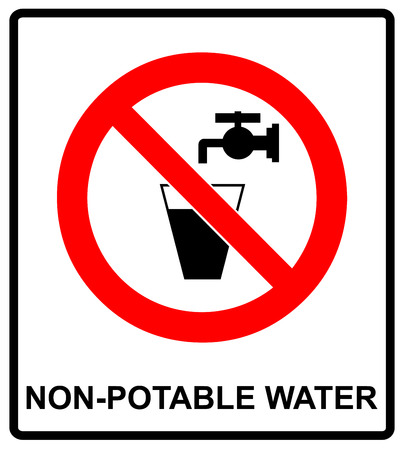 No beba agua señal de prohibición. ilustración vectorial Vaso de agua y la válvula. señal de advertencia de agua no potable. Agua del grifo Vectores