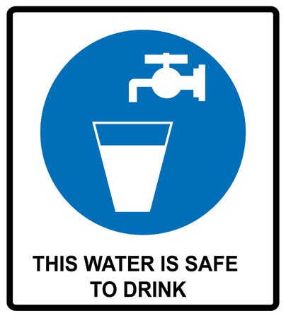 safe water: Drinking water sign This water is safe to drink notice Vector banner Mandatory symbol
