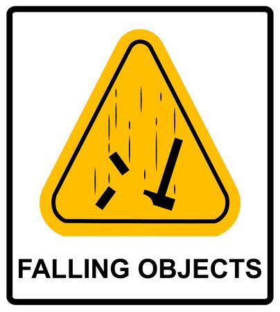 slip hazard: Danger Falling Objects Warning sign in yellow triagle . Vector illustration Warning banner