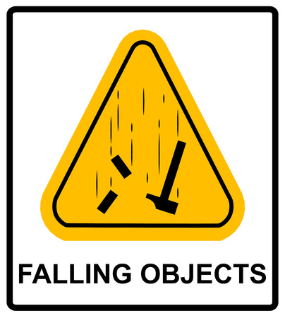 Danger Falling Objects Warning sign in yellow triagle . Vector illustration Warning banner