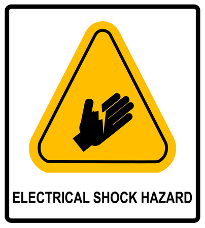 Electrical Shock Hazard symbol, vector illustration with warning sign in yellow triangle isolated on white. Exclamation icons. Illustration