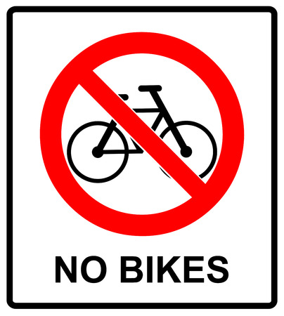 No bicycle sign Please, No bikes symbol for public places Warning Vector illustration