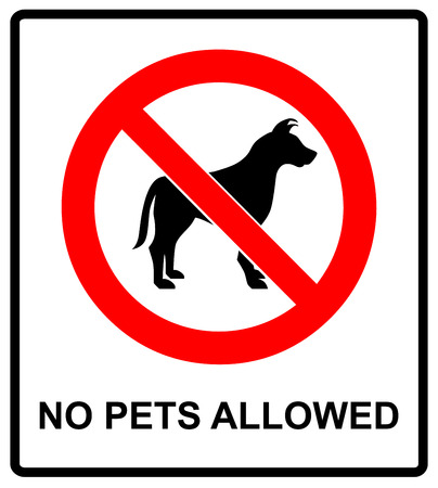 illegal zone: no pet allowed sign illustration vector no dogs, please, warning sticker for outdoors and public places isolated on white red circle
