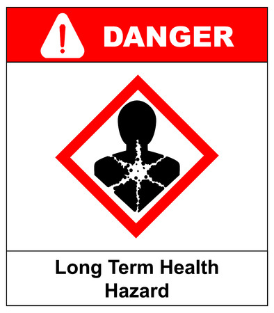 Long term health hazard, man in red rhombus symbol. Danger banner for factory. Vector illustration. Warning sign with exclamation point. Illustration