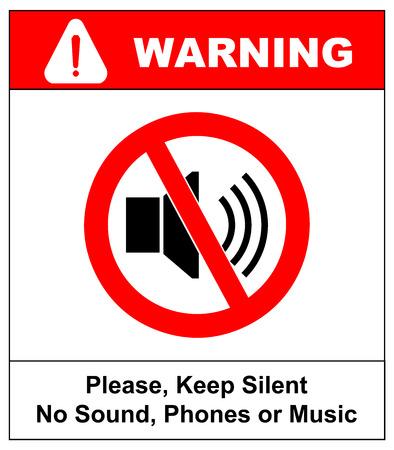guardar silencio: Señal prohibido para guardar silencio. Símbolo del vector para los lugares públicos. Mantenga bastante, no hay sonido, no hay música, no hay teléfonos. Vectores