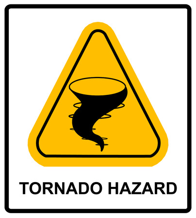 extreme weather: Warning tornado hazard sign in yellow triangle. Vector sticker,banner for outdoors. Extreme weather conditions.