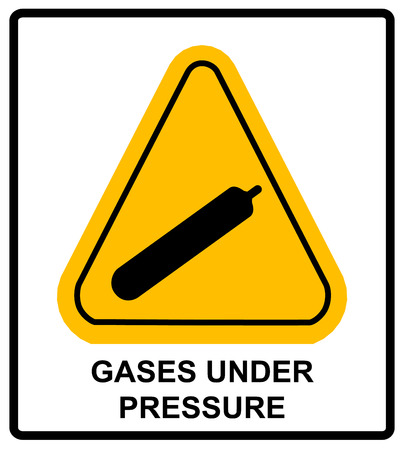 under pressure: Gases under pressure sign. Vector sticker label for public places. Warning symbol in yellow triangle. Illustration