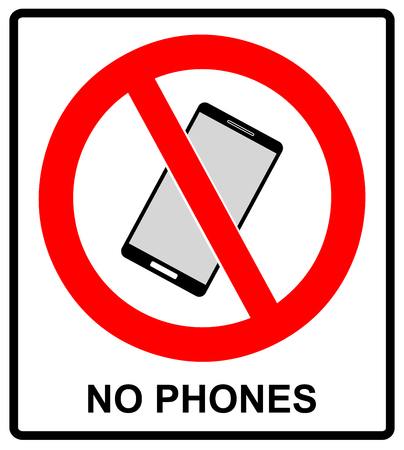 no cell phone sign: No cell phone sign. Mobile phone ringer volume mute sign. No smartphone allowed icon. No Calling label on white background. No Phone emblem great for any use. Stock Vector Illustration Warning sticker