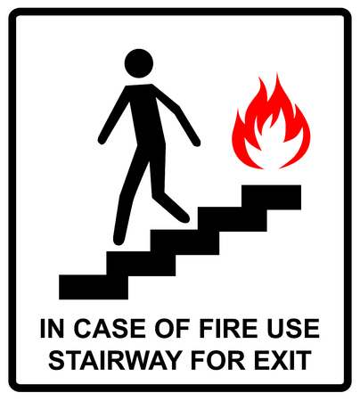 no correr: in case of fire use stairway for exit sign. man going on emergency exit. warning banner. vector symbol.
