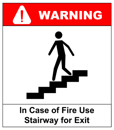 stairway: in case of fire use stairway for exit sign. man going on emergency exit. warning banner. vector symbol.