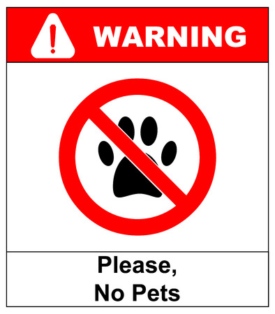 restricted area sign: no pets allowed icon. pets forbidden vector illustration. no dog paw prohibition symbol.