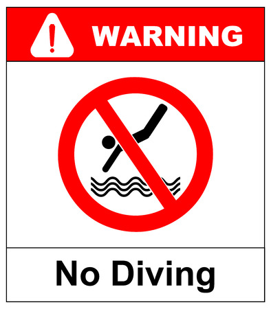 No diving sign. Vector prohibition symbol isolated on white in red circle for public swimming places like beaches, pool. Ilustração