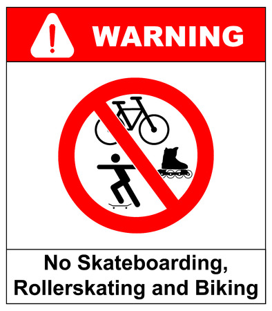 roller blade: No roller blade, scooter, roller, skater or skating signs in red prohibition circle. Vector warning banner for supermarkets, outdoors. Isolated on white.