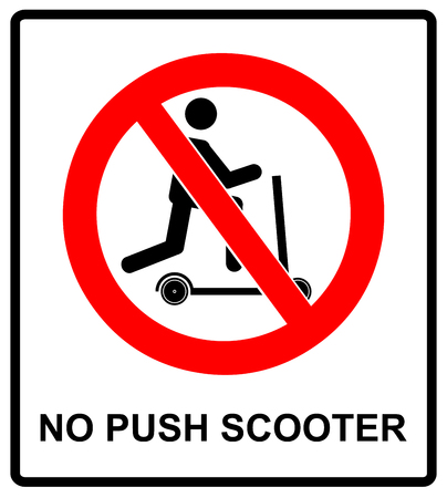 No scooters allowed symbol. Vector prohibition icons for public places like parks, outdoors, streets and for web design. Information warning banner with sign in red circle isolated on white.
