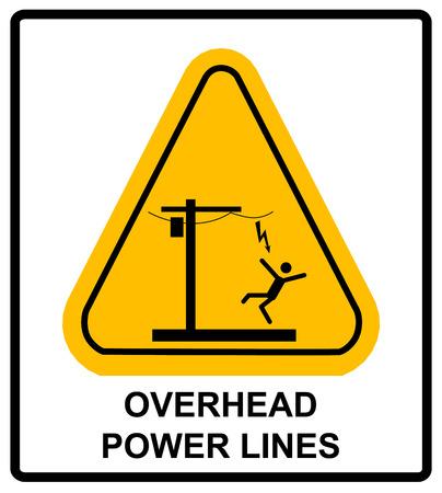 上記危険電圧。架空送電線や電気安全標識危険頭上式の電力線。黄色の三角形の記号がベクトル警告バナー。  イラスト・ベクター素材