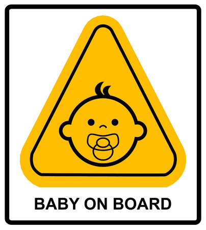 forewarning: Baby on board sign on white background. Vector illustration. Warning banner Illustration