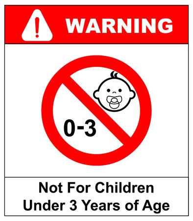 어린이를위한 금지 표지판. 3 세 미만 어린이를위한 것은 아닙니다. 벡터 일러스트 레이 션. 빨간색 금지 동그라미 화이트에 격리입니다. 경고 스티커.