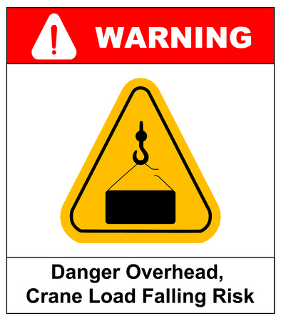 overhead: Danger overhead load sign. Vector warning banner, silhouette symbol in yellow triangle isolated on white.