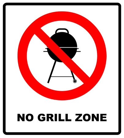do cooking: No grill zone symbol, No bbq allowed - ban sign. Vector warning banner for publc places, beaches, outdoors, parks, forestes. Exclamation point, general red prohibition circle isoolated on white.