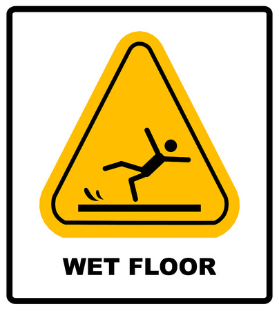 Caution wet floor. Vector warning sicker label for office and public centers. Yellow caution symbol isolated on white. Falling man silhouette. Illustration