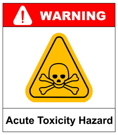hazard pictogram, acute toxicity hazard symbol. Vector banner for industrial. Yellow triangle isolated on white with text.