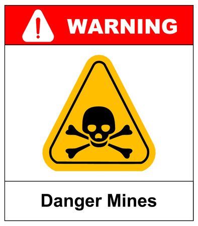 electroshock: vector skull danger sign. danger mines hazard. vector sticker with yellow triangle symbol isolated on white. exclamation point. Illustration