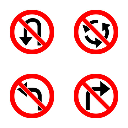 roundabout: Vector set of arrow road forbidden signs, a U-Turn, do not turn right and left and roundabout - road sign isolated on white background in red forbidden circle. Vector illustration.