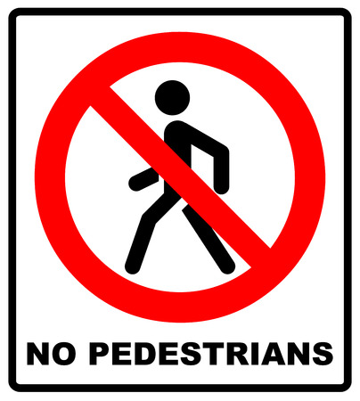 Vector Prohibition No Pedestrain Sign. Warning road traffic forbidden icon for walking people isolated on white in a red circle. Man symbol Vektoros illusztráció