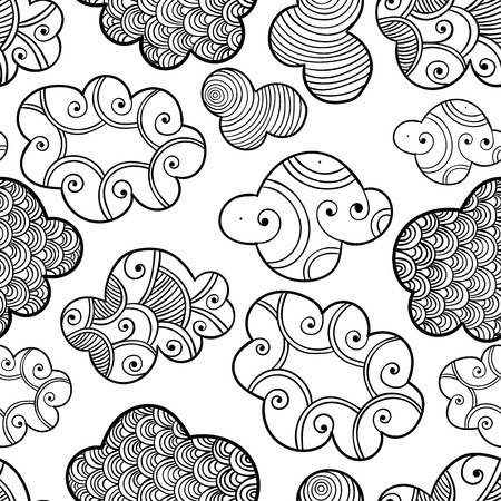 colorless: Cute hand drawn seamless pattern with bright colorless clouds. Vector illustration for package, design, web, coloring book. Hand drawn magic clouds isolated on white for coloring pages