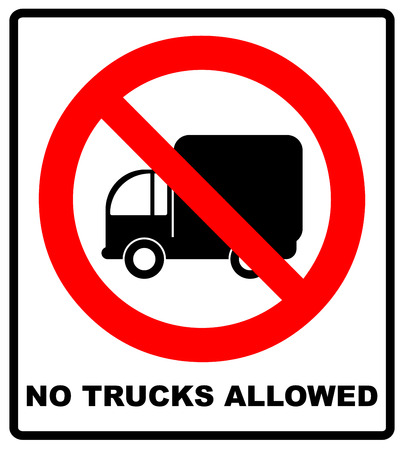 prohibit: Vector illustration. No Trucks Allowed sign isolated against a white background. Red forbidden circle isolated on white. Vector road lorry sign with text