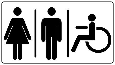 vector illustration of mens and womens disabled restroom sign - printable restroom, toilette signs, invalid icon. Vector symbols for public places, banner isolated on white, black silhouette Illustration