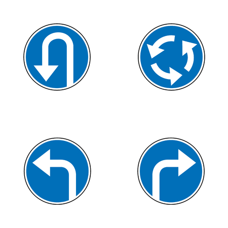 Vector set of arrow road mandatory blue round road signs, a U-Turn, turn right and left and roundabout - road sign isolated on white background in blue permissive circle. Vector illustration.