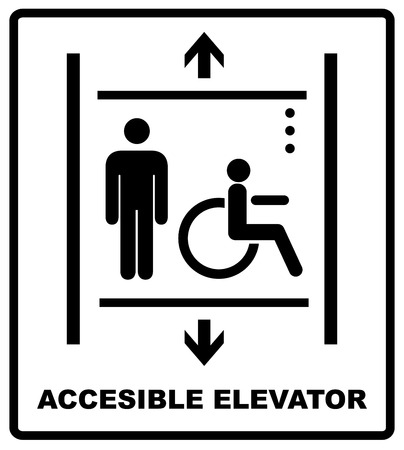 lift for disabled icon sign vector illustration. wheelchair vector sign. Accessible elevator for invalid. Vector banner for public places. Black silhouette of man and wheelchair