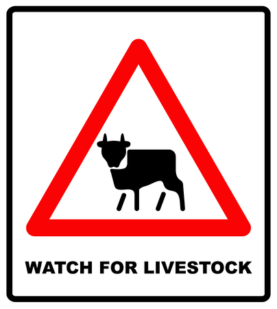 watch movement: Vector watch for livestock icon. Road Sign Warning livestock Movement on White Background. Vector road banner, red warning, caution triangle
