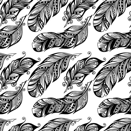 plume: Hand drawn dotted feathers seamless pattern isolated on white background. Vector endless illustration of magic plume. Decorative wallpaper for your design.