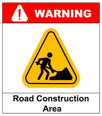 road work: Vector illustration of road construction area sign in yellow triangle isolated on white. Warning sticker for public places and road. work in progress banner.